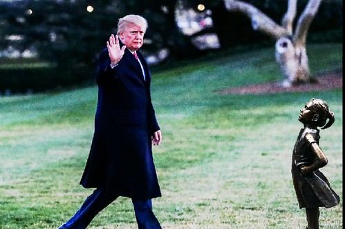 Trump waving goodbye.
