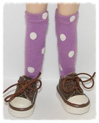 Tall Light Purple Socks With White Dots For Blythe...