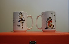 Twin Peaks Beauties (jessrawk) Tags: pink orange white black color colour art cup mugs shadows coffeecup cigarette ottawa indoors recordplayer twinpeaks mug microphone inside 365 pinup 261 coffeecups davidlynch audreyhorne donnahayward twohundredandsixtyone twosixtyone orangerecordplayer pinupmugs