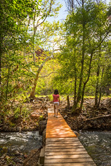 A Stroll in Paradise (Dahai Z) Tags: bridge vacation arizona stream unitedstates daughter sedona trail sedonaarizona canonef24105mmf4lisusm canoneos6d redrockstateparkarizona summer2015
