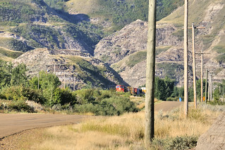 Mixed freight heading up the valley - between Rosebud and Rosedale, near Drumheller, Alberta