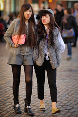 Cobbled Together (Stuart Mac) Tags: street people london face look walking asian women couple candid cobbles