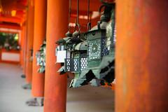 Lanterns in Kasuga-Taisha, Nara (Brieuc.Baillot) Tags: red blur detail green geometric colors japan temple photography japanese nikon shrine artistic zoom perspective buddhism line lantern nara shinto japon narapark d600 2470 sigma2470 traditionnal sigma2470f28 nikond600