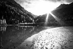 enlightment (zedipedi) Tags: mountain lake nature monochrome schweiz wallis enlightment sunstream derborance