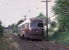 PSTC 9 (Brilliner) appoaching Sharon Hill, PA Station on September 28, 1965 (railfan 44) Tags: publictransit masstrasit