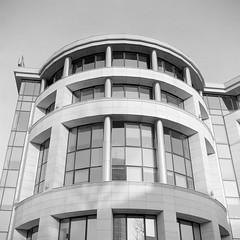 Corner of Solidarity avenue and Bielaska street, Warsaw (M.M.A.K.) Tags: 6x6 mediumformat poland warsaw fujineopanacros100 fujifilmneopan100acros start66s film:brand=fuji film:iso=100 film:name=fujineopanacros100 filmdev:recipe=10499