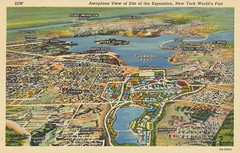 Aeroplane View of Site of the Exposition - 1939 New York World's Fair (The Cardboard America Archives) Tags: newyork vintage postcard pavilion 1939 worldsfair