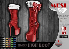 .: LIKE DESIGN :. XMAS HIGH BOOT (LIKE-DESIGN) Tags: physique hourglass tonic venus issis freya lara belleza slink maitreya xmas second life secondlife high feet highfeet boot colorhud color hud