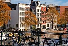 Medieval Dutch Canal Houses, Kloveniersburgwal, Amsterdam (PhotosToArtByMike) Tags: kloveniersburgwal amsterdam netherlands oldcentre dutch holland centrum centrecity medieval canal nieuwmarkt amstelriver bike