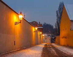 Černínská ulice v zimě (Honzinus) Tags: zima winter černínská nový svět praha prague praga prag sníh večer hradčany