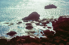 The Rock (hiphopmilk) Tags: nikonfm2n nikonfm2 nikon fm2 35mm 135film film analog analogue kodak nikkor jaredyeh hiphopmilk taiwan lanyu orchid island pongso no tao 蘭嶼 yami ivalino sun sunshine sunrise sky clouds sea ocean shine morning dawn twilight walking rock reef