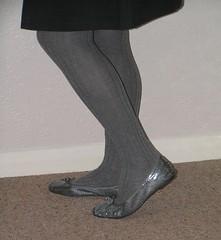Silver sparkly ballerinas (clared02) Tags: greytights ballerinas