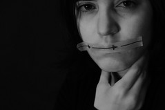Day 197: Moving On (Anomalily) Tags: 365days 365 myself selfportrait blackandwhite arrows hardlight mouthtaped