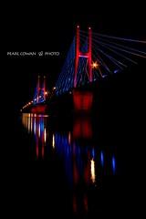 Quincy Memorial Bridge (pearlcowan88) Tags: bridge quincy lights night colorful twinkle photography longexposure
