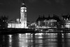 Houses of Parliament at night (black and white) (Canadian Pacific) Tags: london england english british great britain unitedkingdom building architecture night photo image shot bw aimg1095bw houses parliament clock palaceofwestminster tower elizabeth bigben sw1
