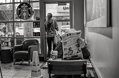 newspaper (** RCB **) Tags: starbucks coffee sacramento monochrome newspaper reading news 2017 2017038 365 coffeeshop urban city indoors window clanflickr