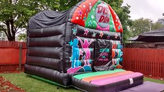 Retro style 16x13 disco bouncy castle complete with music and lights built in. From only £100 per hire.