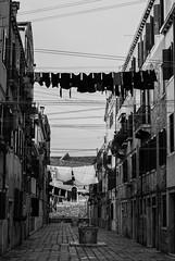 Clothes lines (Rudi Pauwels) Tags: venice venedig venezia italy italia italien clotheslines alley blackandwhite blackwhite bw svartvit monochrome nikon nikond80 d80
