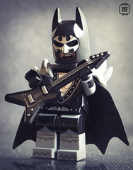 Metal Batman (Jezbags) Tags: lego legos legodc macro macrophotography macrodreams macrolego batman metal rock numetal goth guitar mask dc canon60d canon 60d 100mm close closeup cape black white grey bat bass dclego batmanthemovie movie batmanlegomovie legobatman