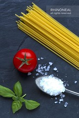 [spaghetti tomato and basil low res] (RHiNO NEAL) Tags: tomato salt neil rhino basil slate spagetti neal rhinoneal