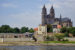 Niedrigwasser an der Elbe - Magdeburg (Magdeburg) Tags: water river cathedral dom low an magdeburg der elbe niedrigwasser magdeburgerdom magdeburger magdeburgdom magdeburgcathedral elbemagdeburg domfelsen domfelsenmagdeburg niedrigwasserelbe