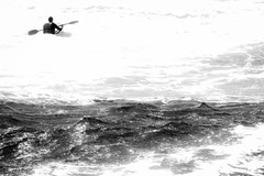 Against the Sea (talpazfridman) Tags: ocean sea blackandwhite bw seascape beach water against monochrome sport one coast israel blackwhite seaside energy mediterranean kayak waves alone extreme paddle canoe will shore foam single rowing motivation far determination talpazfridman