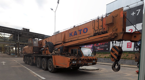 KATO NK-750YS-L crane in Krasnogorsk, Moscow aglomeration.  Krokus-Expo