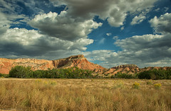 Ghost Ranch (SandyK29) Tags: blue trees red sky orange sun mountain newmexico southwest nature beauty grass sunshine yellow rock clouds landscape shine bluesky redrocks blueskies puffyclouds abiquiu ghostranch goldenfield nikond800