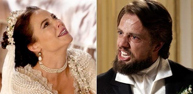 """Em """"Além do Tempo"""", Felipe humilha Melissa e cancela o casamento"""