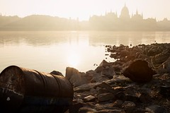 another Danube moment... (LG_92) Tags: morning november light sun cold reflection water colors sunshine misty fog backlight river outside dawn early nikon energy colorful hungary cityscape outdoor stones colorfull empty bottom budapest barrel foggy rusty parliament hunger shore silence pollution oil lowtide waste dslr ungarn catchy danube gegenlicht hungarian contamination országház 2015 d3100