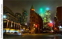 Gooderham Building, Foggy Night (jwvraets) Tags: toronto fog skyline night gimp financialdistrict opensource flatiron frontstreet wellingtonstreet rawtherapee nikkor18105mmvr nikond7100 goodherhambuilding