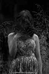 Deception (Milena Galizzi) Tags: autumn woman white black flower girl field vintage dark model hand dress arm bokeh deception deep holy moore freak soul desaturation lucrezia spikes obscure inquietude desatureted