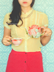 A cup of tea would restore my normality. -Douglas Adams (Yuri Figuenick) Tags: pink blue red portrait woman selfportrait fashion yellow lensbaby vintage myself asian japanese focus colorful pattern tea bokeh vivid lips retro portraiture 1950s faceless teapot 1960s teacup selfie tiltshifted canoneos5dmarkiii edge80