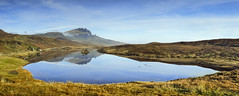 The Old Man of Storr reflected on a calm Loch Fada (Katybun of Beverley) Tags: autumn skye reflections landscape scotland highlands scenery scenic westhighlands theoldmanofstorr theisleofskye lochfada