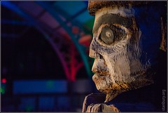 Totem head / Pitt Rivers Light Night (FlickrDelusions) Tags: oxford oxfordshire lightfestival pittriversmuseum lightnight oxlightfest15