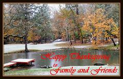 Giving Thanks (-Brian Blair-) Tags: thanksgiving autumn holiday snow tree fall dock pond snowfall greeting rvc