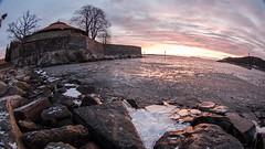 Morning Ice (KrishTh) Tags: ifttt 500px kristiansand norway ice morning sunrise christiansholm fortress war water ocean fisheye cold stones sky view coast landscape