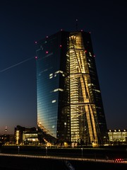 Merging with the nightsky. (benjaminwolf1) Tags: reflection outdoors urban cityscape lights metal glass structure architecture sunset nightlights ecb tower skyscraper frankfurt