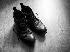343/366 2016 - Feet-up time (fishyfish_arcade) Tags: 20mmf17 365 366 gx7 lumix panasonic panasonic20mmf17asphlumixg boots shoes blackwhite blackandwhite bw monochrome mono