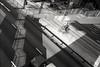 (David Davidoff) Tags: people street life shadow grid bridge cityrhythm urbanlandscape geometry analogue human blalckwhite leicam6 rangefinder delivery bikebicycle above aerialview moment