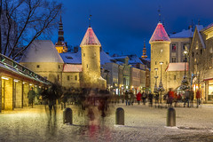 Viru Gate Towers in Evening Winter Tallinn (AudioClassic) Tags: viru gate people night street winter estonia tallinn christmas history holiday decoration architecture city travel town building old medieval illuminated evening europe light urban landmark cityscape tower tourism culture outdoor famous traditional baltic ancient colorful snow viewxmas beautiful roof stone house shopping exterior vintage background january wall year bench market season historical european estonian colored avenue outdoors lantern home lights scene