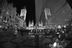 Reflections of Prague (photographic-leigh) Tags: oldtownsquare astronomicalclock townhall night outdoors outdoor blackwhite bw prague praga praha czech czechrepublic czechia reflection mirror lady people christmas nite clock towers city