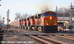 BNSF 5430 Leads EB Autorack Olathe, KS 2-19-17