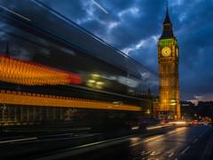 Departing Big Ben (neil.bulman) Tags: night parliament england bigben clock capital government clocktower london city dark motion londonbuses cars buses traffic housesofparliament uk motionblur unitedkingdom gb