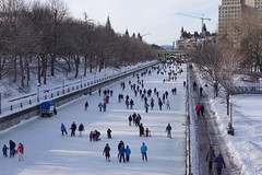 Ottawa skating again...The Rideau Canal is open! (beyondhue) Tags: rideau canal skateway open skate people chateau fairmont laurier bridge ice winter frozen beyondhue ottawa ontario canada longest skating rink
