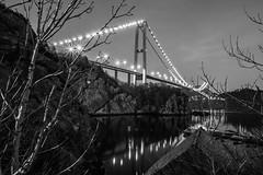 """Askøy Bridge by night"" [Explored] (Terje Helberg Photography) Tags: bw blackandwhite bnw bridge lights mono monochrome night nightscape nightshot sea water black white askøybroen askøy norway hordaland bergen"