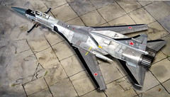 "1:72 Mikoyan-Gurewitsch Izdeliye 71.2 ""жура́вль/Crane"" (NATO ASCC code ""Fastback""); aircraft ""12 Blue"", 2nd prototype during flight and weapon tests at Savasleyka Air Base, 1995 (Whif/kit-bashing) (dizzyfugu) Tags: mikoyan gurevich mig 301 701 710 712 mach 3 interceptor k100 missile long range high speed altitude bodie nmf bare metal fast sleek engine nacelle firefox foxbat forhound fastback fictional aviation whif whatif kitbash su15 b1b mig31 izdeliye жура́вль crane modellbau dizzyfugu savasleyka moscow"