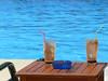 Soooo refreshing! (Lazy B) Tags: blue café pool marina swimming table glasses may stainedglass 2006 greece ashtray fz5 corfu lounger straws frappé kerkira gouvia