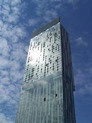 The Beetham Tower or the Hilton hotel or whatever you want to call it. (Neil101) Tags: uk blue england sky building tower glass architecture modern clouds manchester contemporary large neil tall wilkinson beetham beethamtower neilwilkinson neil101 bbcmanchesterblog colorphotoaward bbcredbutton