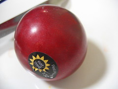 Red plum (WhiteNoiseMaker) Tags: red food closeup fruit plum round redplum